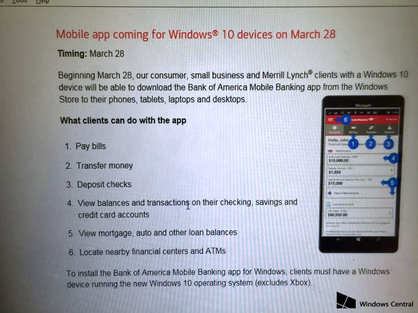 Bank of America's Windows 10 app is coming March 28th to W10