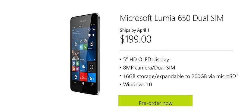 lumia 650 pre-order