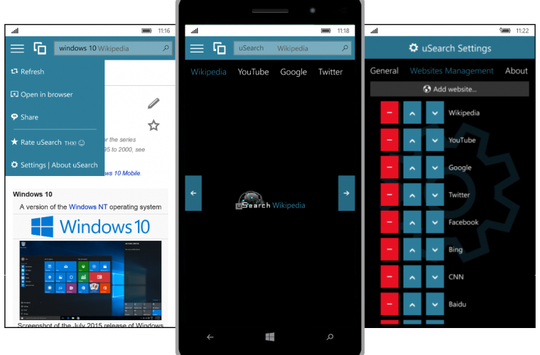 Developer Submission: uSearch for Windows 10 and Windows 10 Mobile released 14