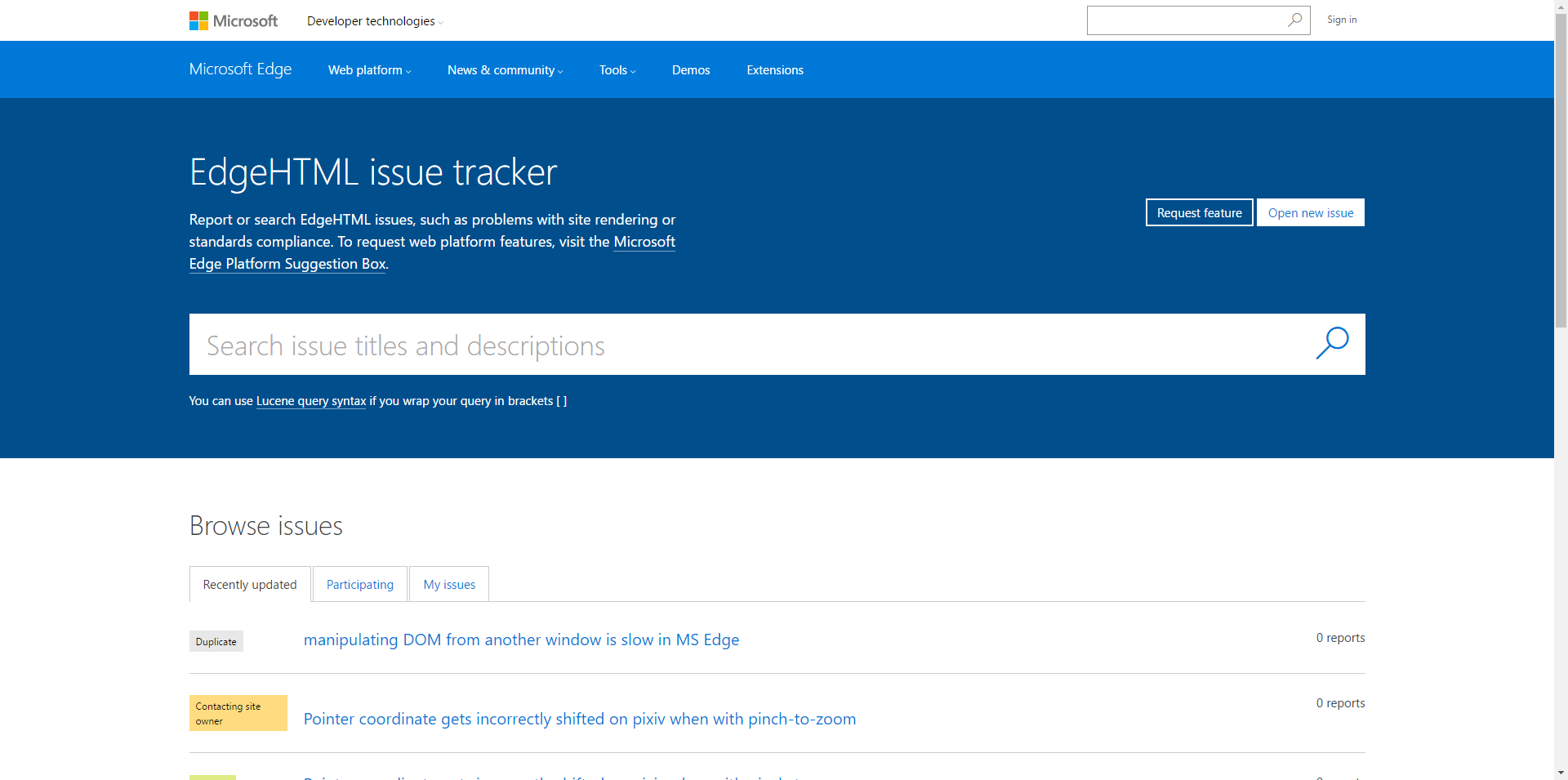 EdgeHTML_issue_tracker_-_Report_or_search_issues,_-1602