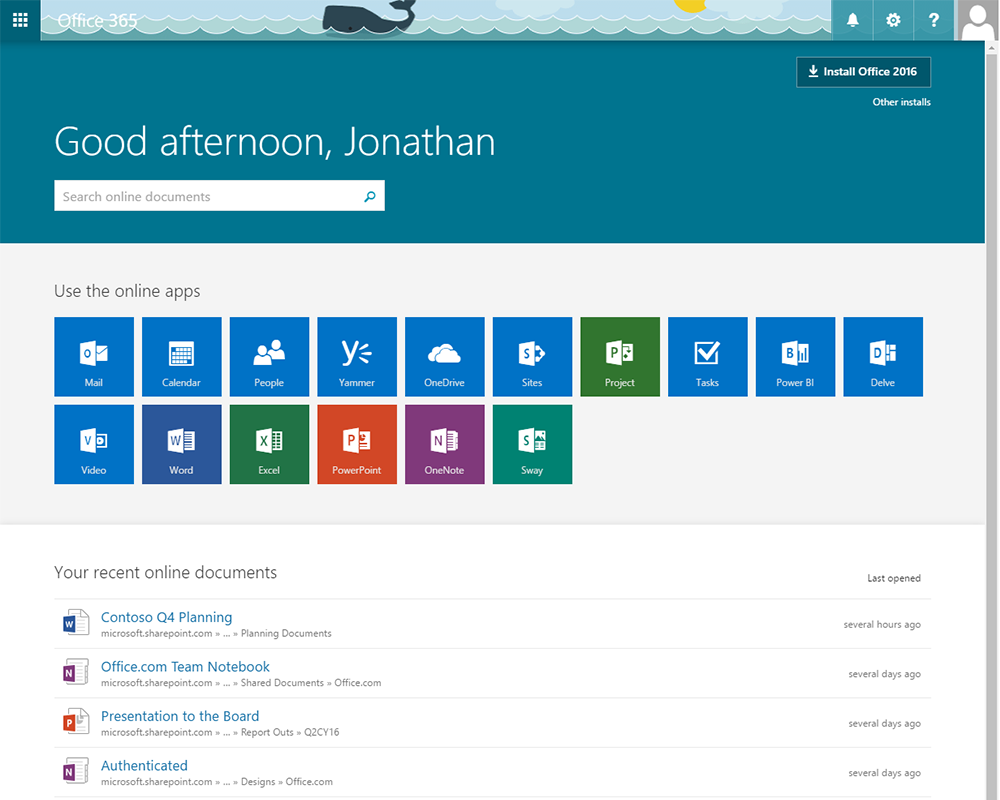 Office 365 Home Page