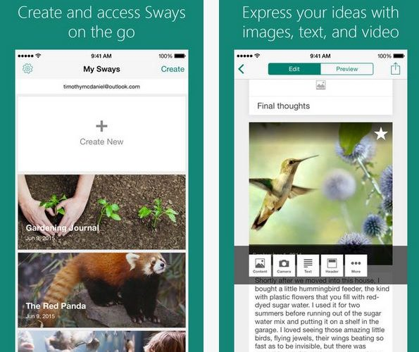 """""""Given recent public announcements from the Windows group regarding the future of the Windows Phone platform, Sway for Windows Phone is no longer in our plans"""" 5"""