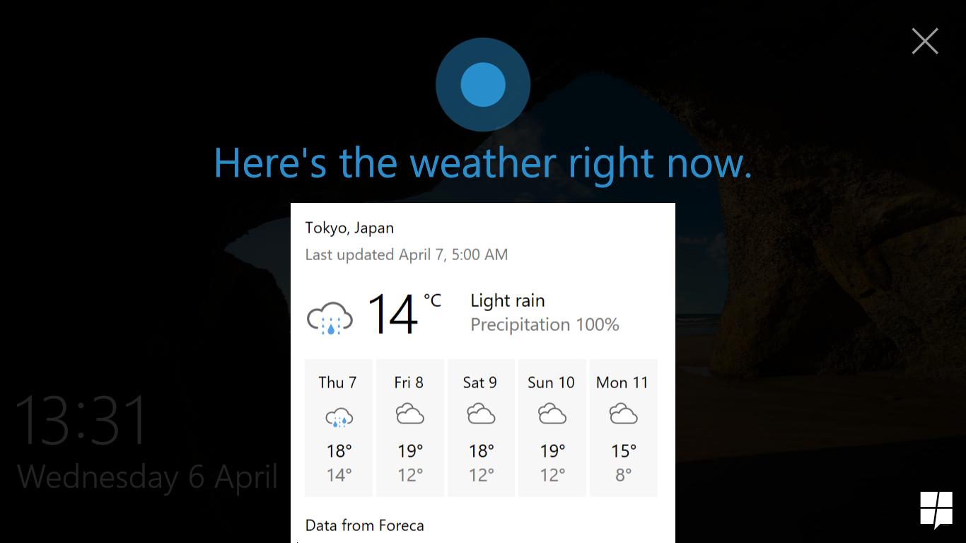 Quick look at lock screen Cortana in Windows 10 Build 14316 3