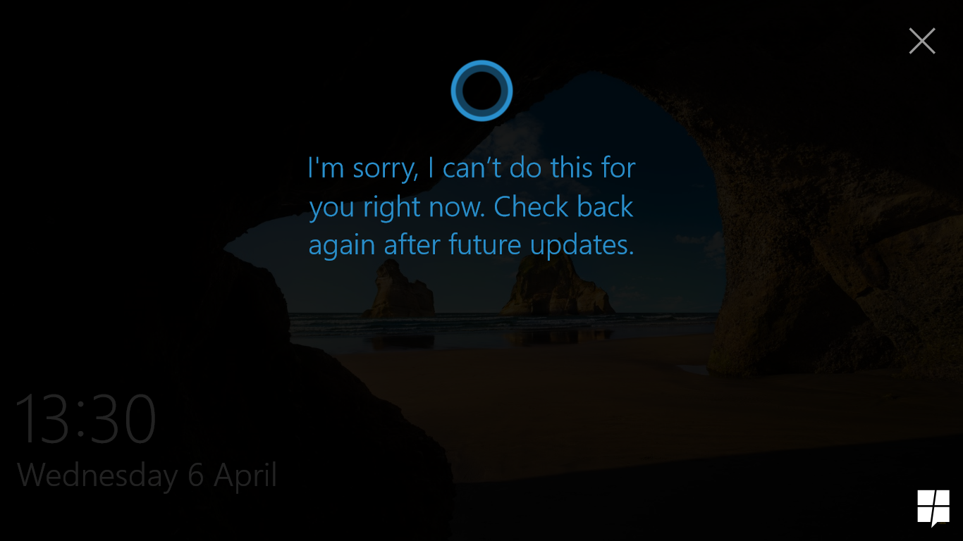 Quick look at lock screen Cortana in Windows 10 Build 14316 10