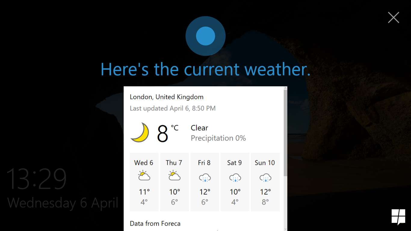Quick look at lock screen Cortana in Windows 10 Build 14316 7