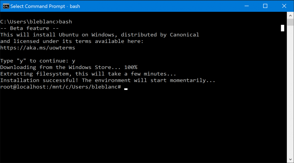 How to install Bash on Windows 10