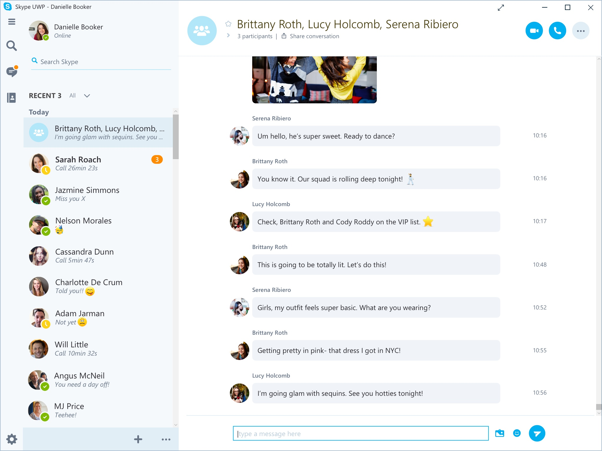 group chat in skype using ipad