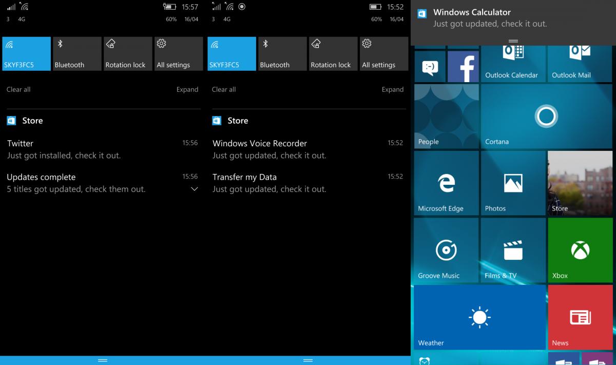 Windows 10 Mobile Build 14327 brings back app update