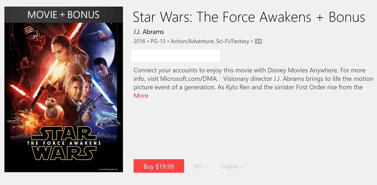 8bbf64589 Star Wars: the Force Awakens now on sale in the Microsoft Store with ...
