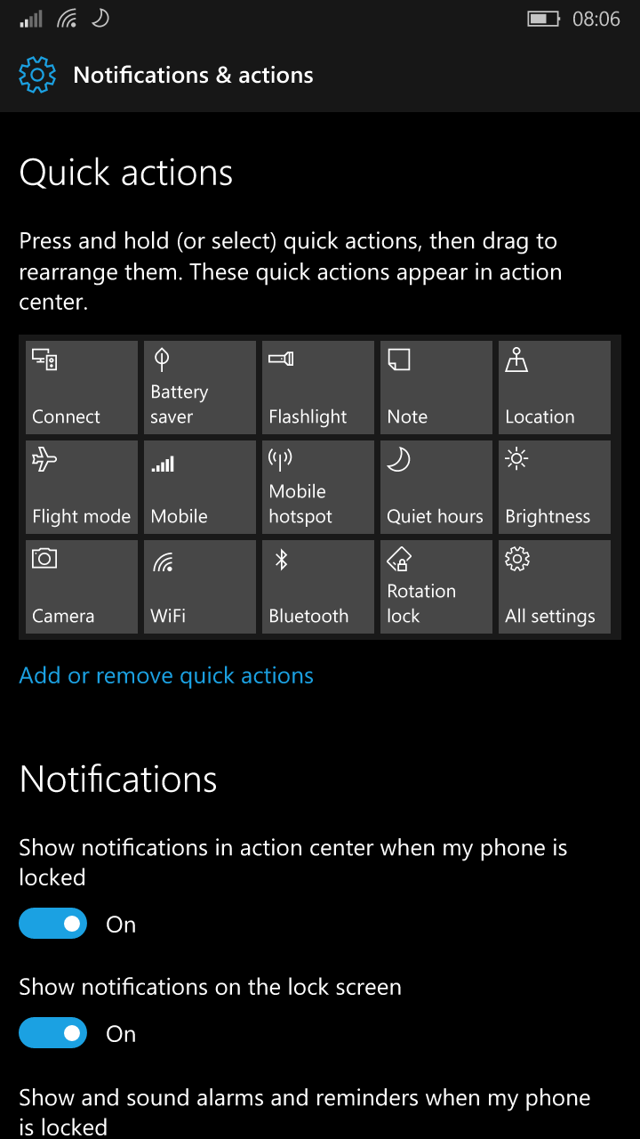 Windows 10 Mobile Redstone to introduce improved Quick Actions and an improved UI for Settings 1