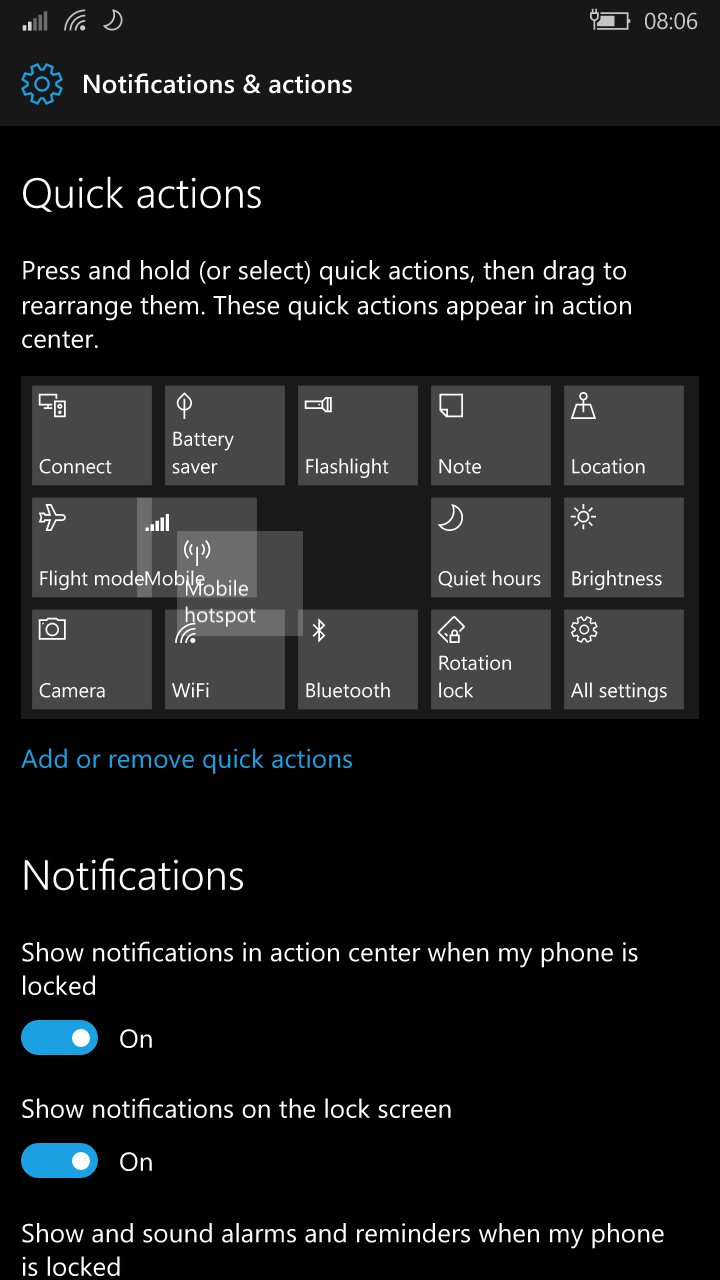 Windows 10 Mobile Redstone to introduce improved Quick Actions and an improved UI for Settings 4