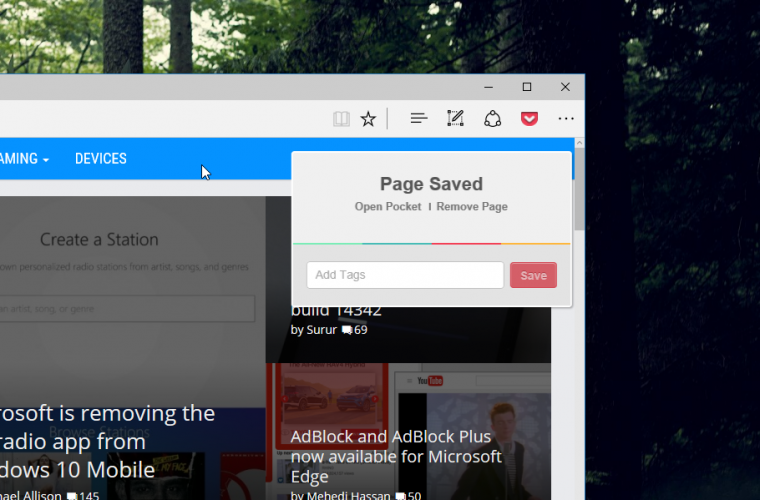 Pocket releases its official Save To Pocket extension for Microsoft Edge 18