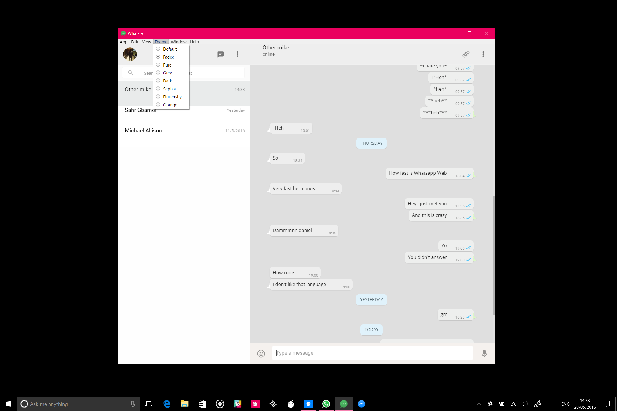 Whatsie for windows pcs is a whatsapp client for people for Window innerwidth