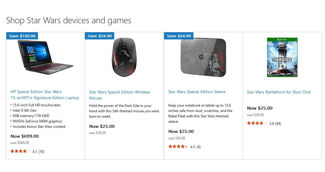 Star Wars Deals Microsoft Store