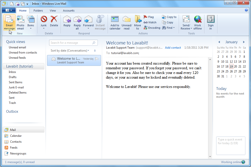 Microsoft: Windows Live Mail 2012 will not connect to new