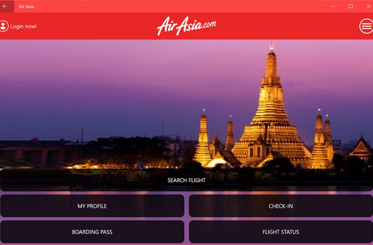 Air Asia release a Universal Windows App 12