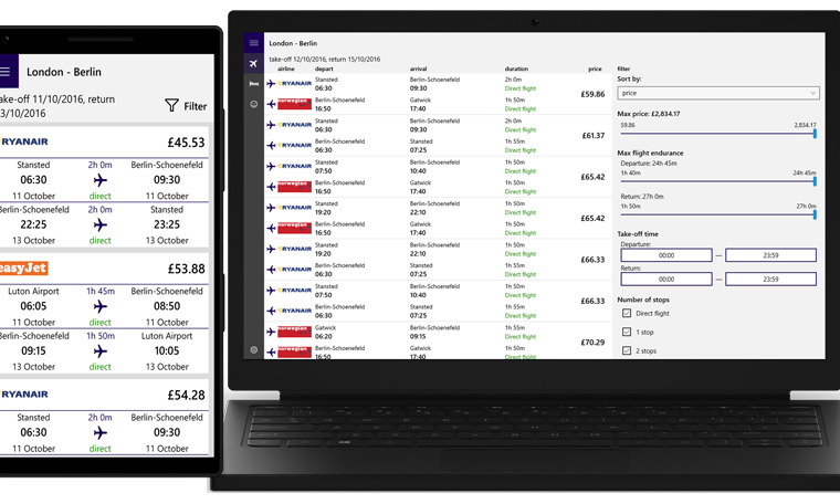 Developer Submission: airtravel - Flights & Hotels app updated for Windows 10 with new interface 22