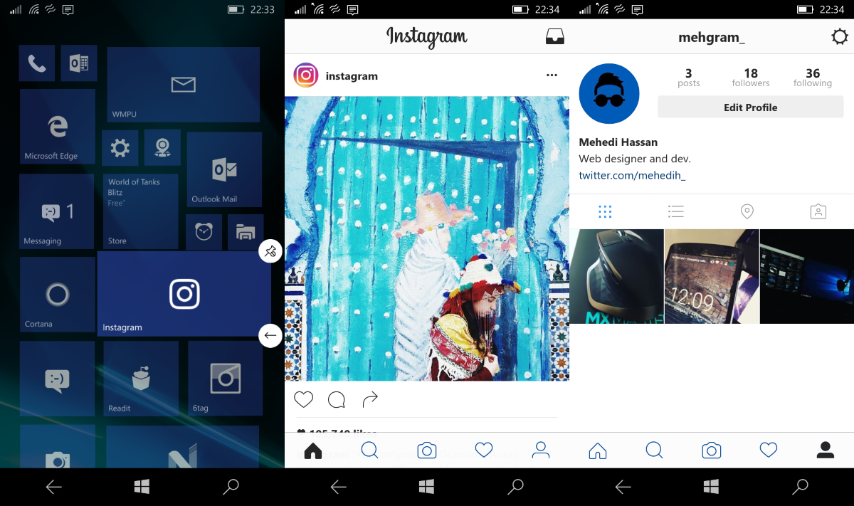 Instagram 8 0 for windows 10 mobile now available with a for New window design 2016