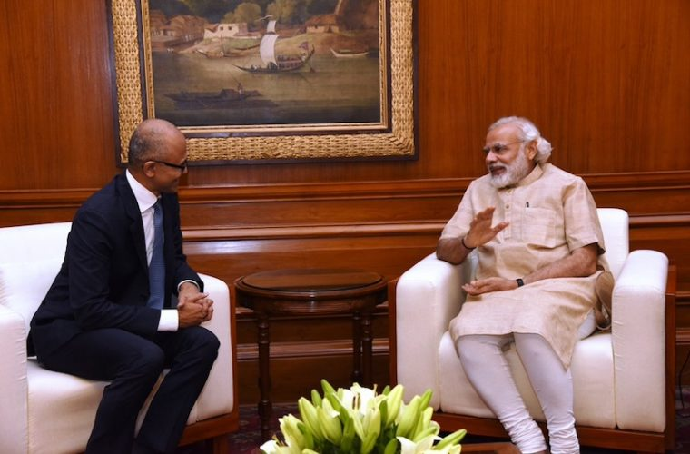 Microsoft CEO Satya Nadella meets India's PM Narendra Modi 2