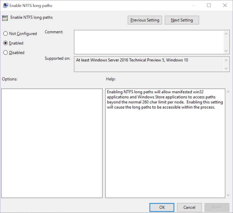 Microsoft removes 260 character limit for NTFS Path in new Windows