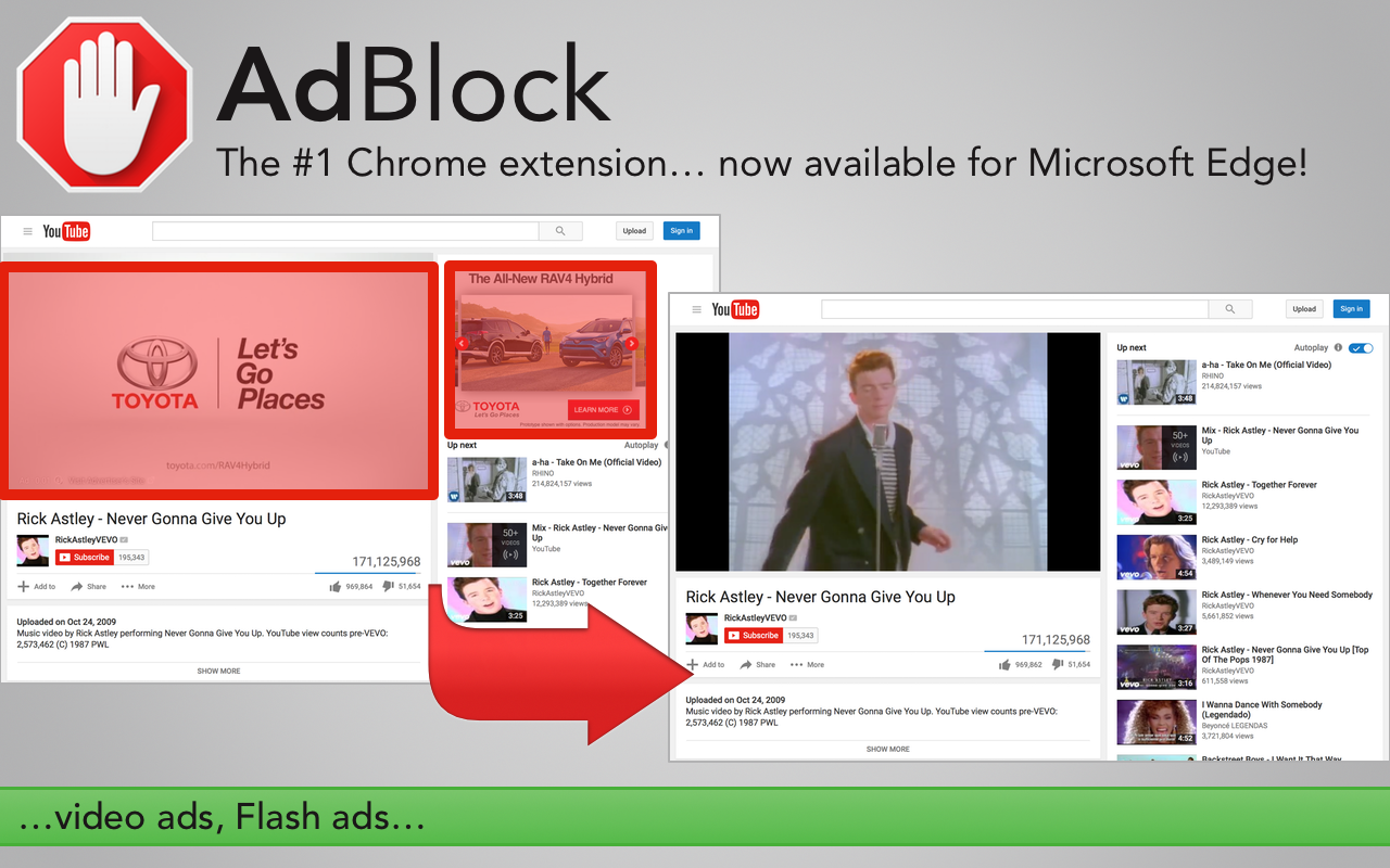 rickrolled. AdBlock and AdBlock Plus are finally ...