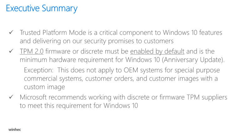 All new Windows 10 PCs to have Trusted Platform Module 2 0
