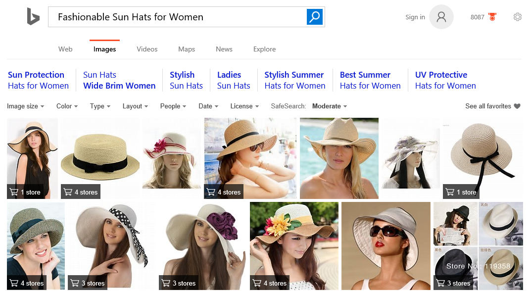 Bing Image Search Shopping