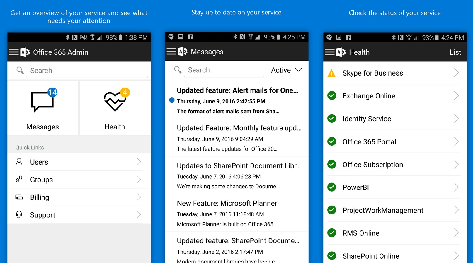Microsoft releases new office 365 admin app for windows phone and android mspoweruser - Company administrator office 365 ...