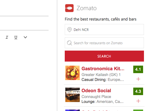 Zomato Outlook Add-in
