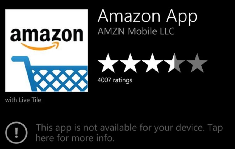 Amazon's Windows Phone app will no longer be accessible after August 15 1