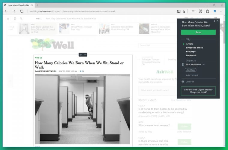 Evernote launches its Web Clipper extension for Microsoft Edge 5