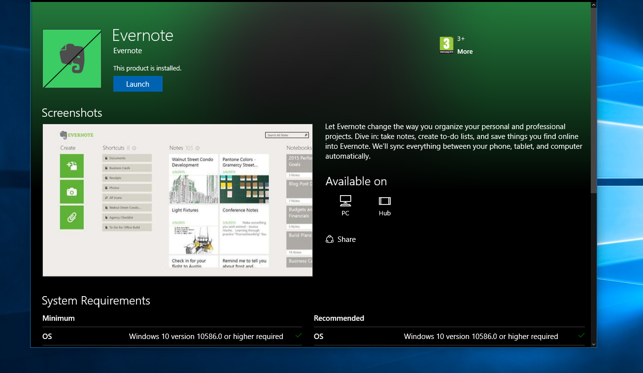 evernote windows 10 app