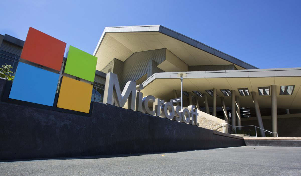 The Visitor's Center at Microsoft Headquarters campus is pictured July 17, 2014 in Redmond, Washington. (Stephen Brashear/Getty Images)