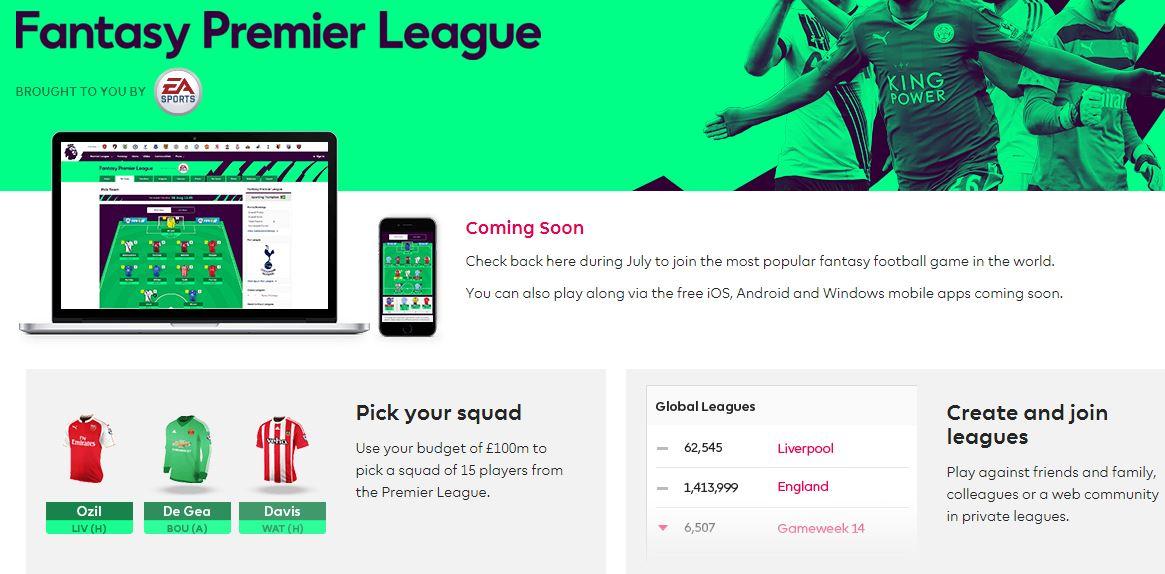 Fantasy Premier League Windows Mobile