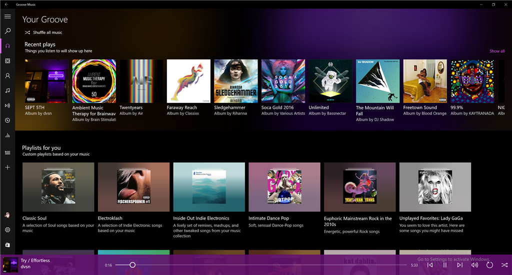 Groove Music Update