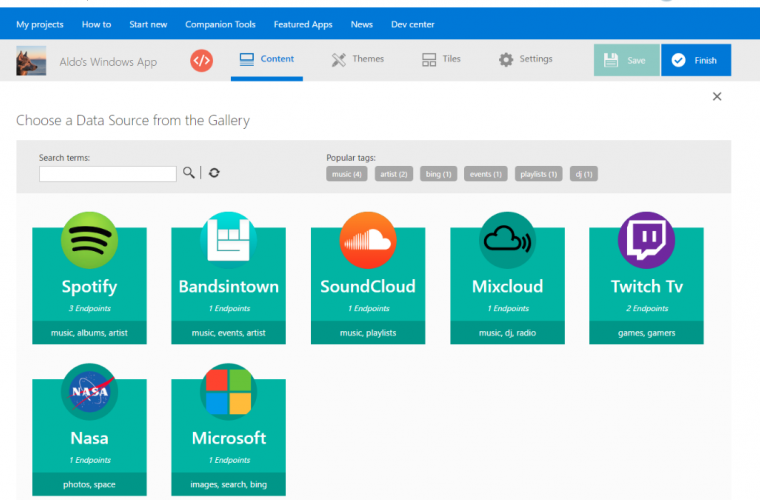 Windows App Studio July Update Includes Community-Driven API Gallery And More 3