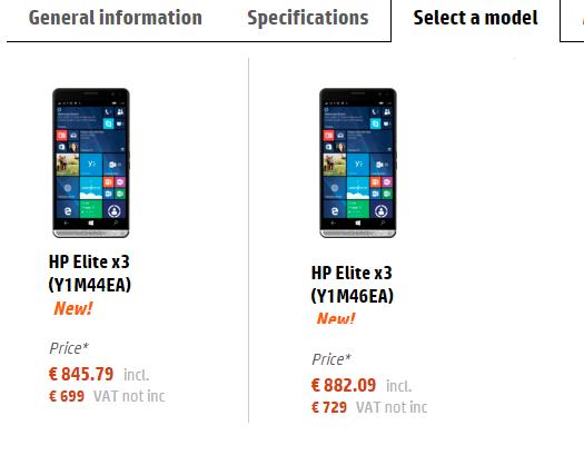 hp elite x3 price list
