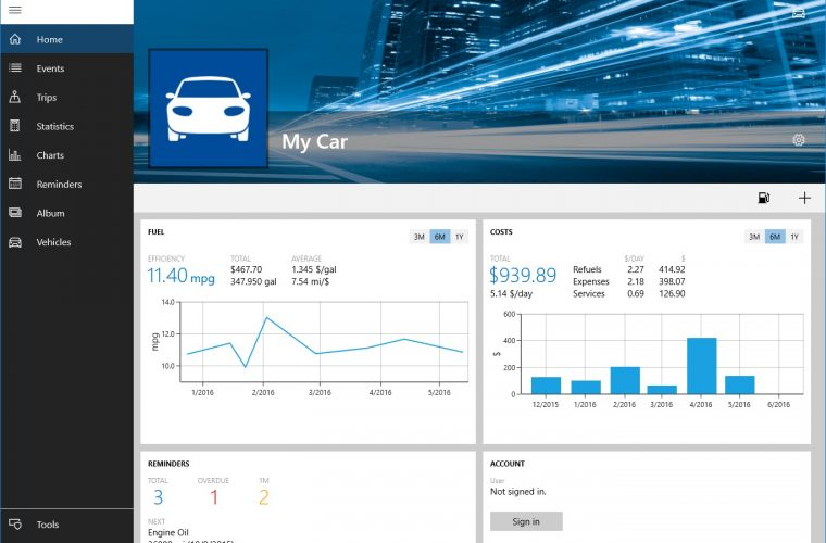 Developer Submission: My Car 3.0 for Windows 10 released 15