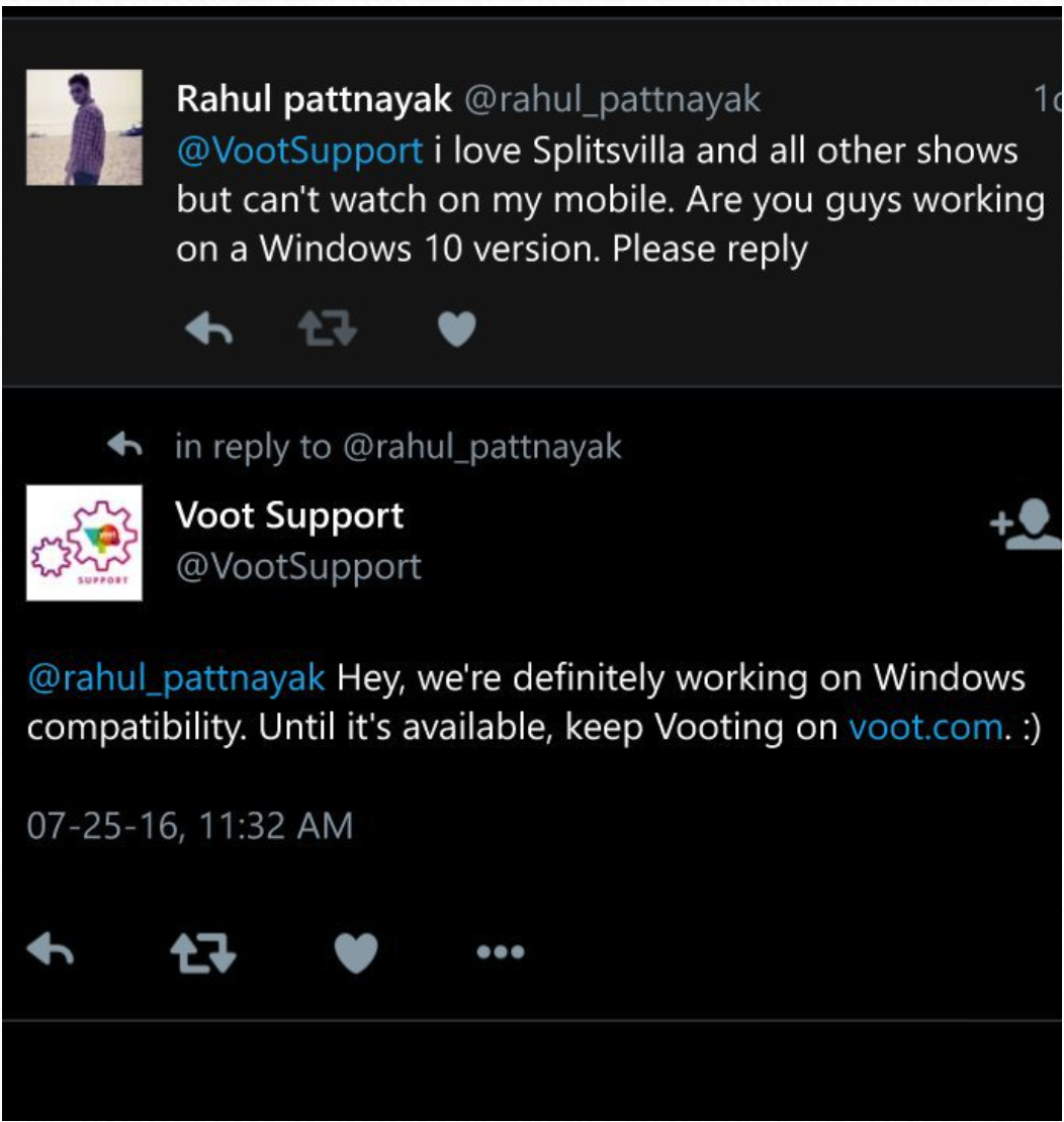 Voot' working on bringing its app to Windows - MSPoweruser