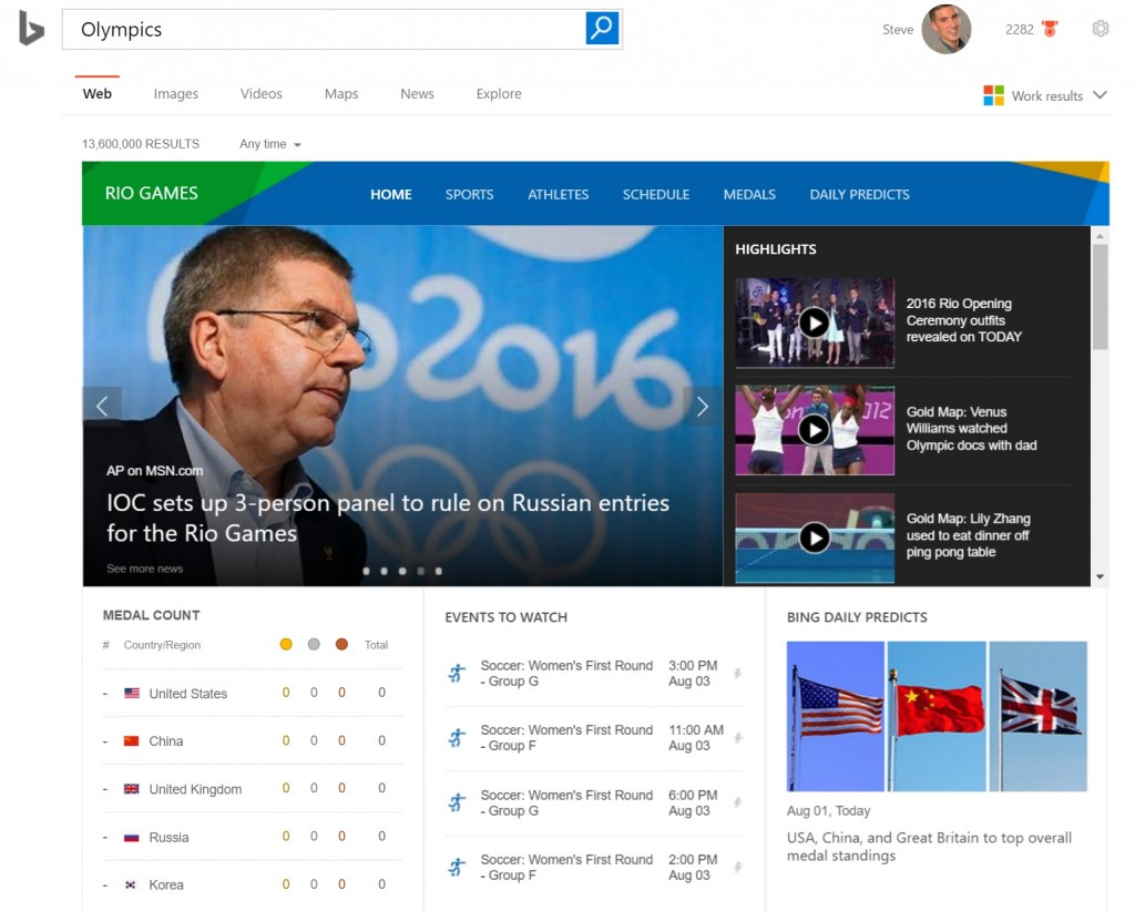 Bing Olympics Predictions