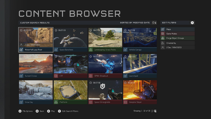 The content browser