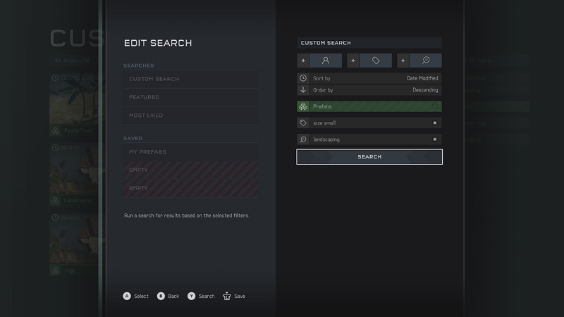 The search UI for the Halo 5 content browser