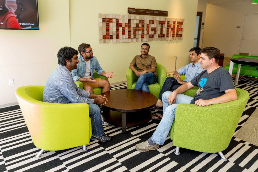 Microsoft Hackathon finalist Team Instafact (left to right)Srivatsava Darurui, Rohit Paravastu, Rajeev Kumar, Deepak Zambre and Silviu Cucerzan at Bellevue Center on August 5, 2016. (Photography by Scott Eklund/Red Box Pictures)