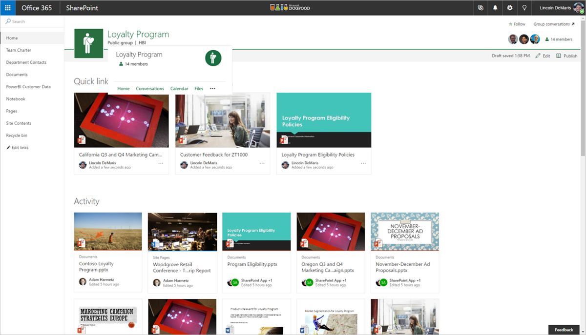 Microsoft announces office 365 groups integration on for Best online photo gallery