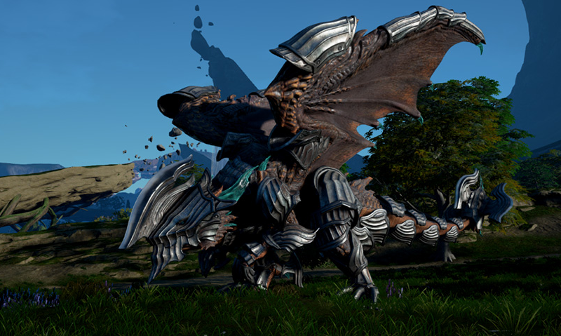 The player's dragon, Thuban, covered in armor