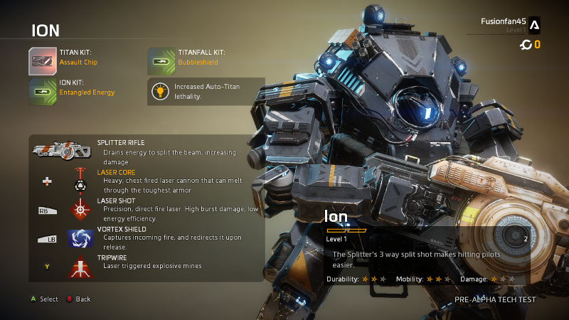 Ion, one of the two titans available in Titanfall 2's Tech Test