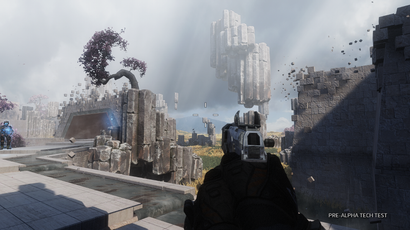 A screenshot from Titanfall 2's training mode, which is a level from the campaign