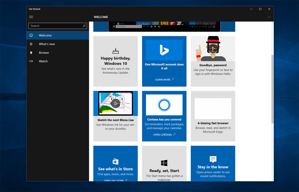 Get started app gets new content with latest update on for New to windows
