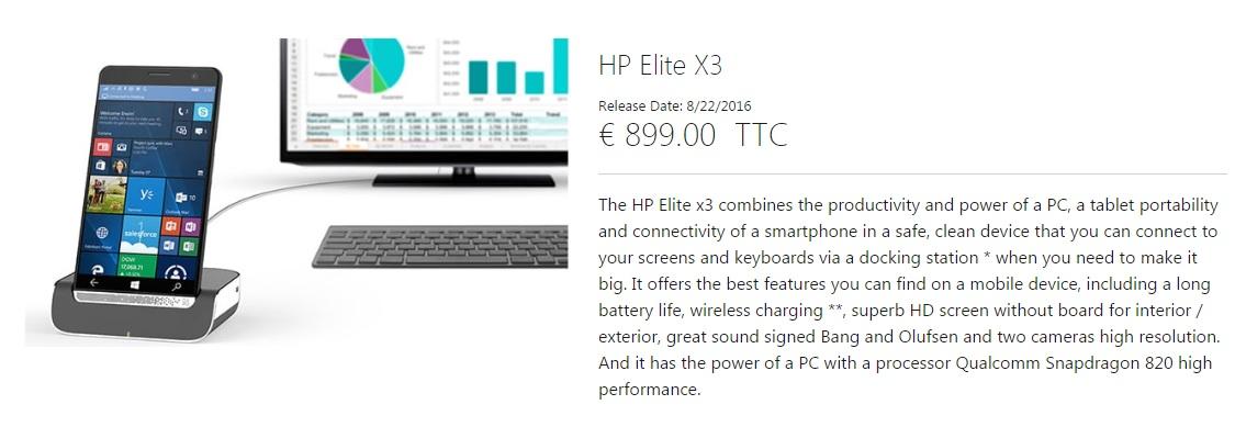 hp elite x3 france