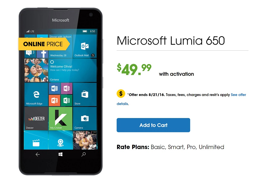 lumia 650 cricket deal 2